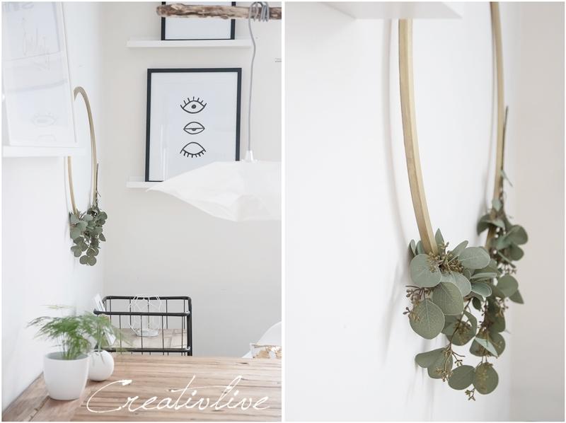 Metallkranz mit Eucalyptus Zweigen
