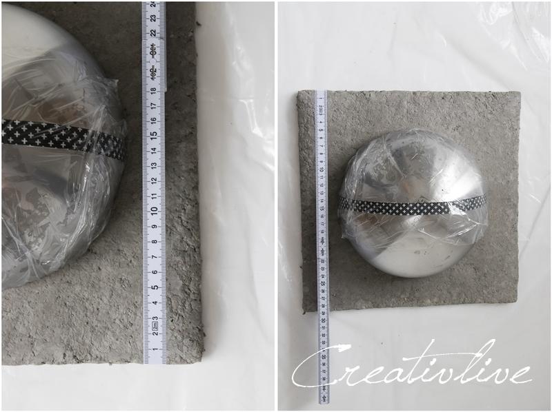 Metallschale auf Papierbetonplatte