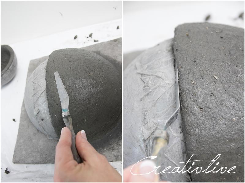 Papierbeton als Wandtopf formen