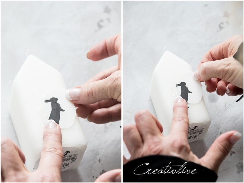 Wasserschiebefolie auf Kerzen anbringen