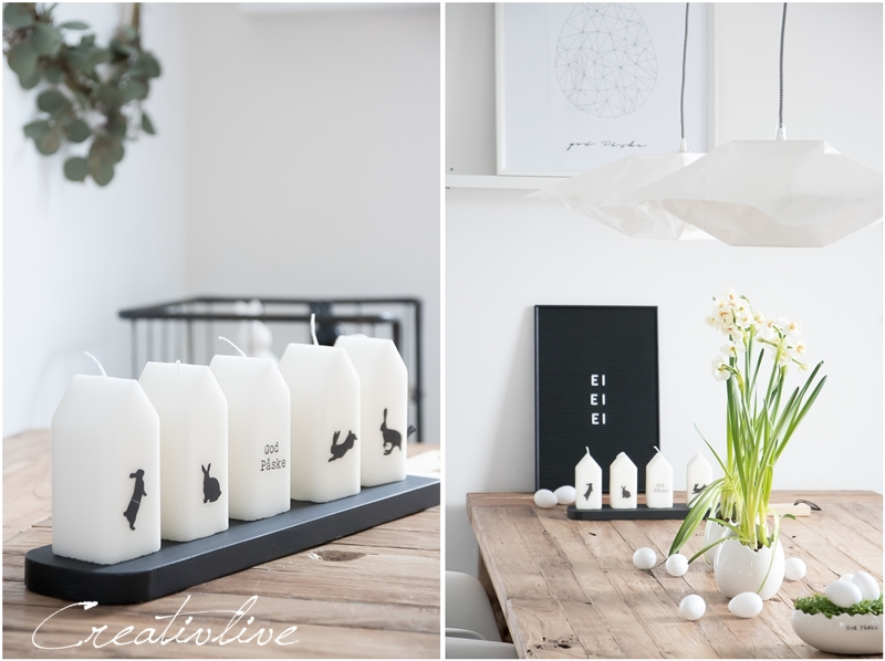Kerzen in Hausform mit Hasenmotiv