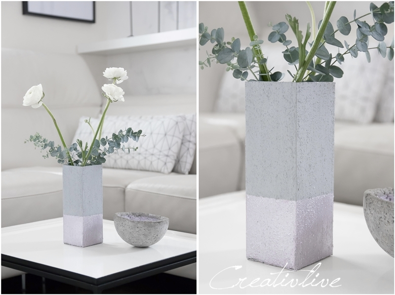 diy upcycling tetrapack als betonvasen mit glanz creativlive. Black Bedroom Furniture Sets. Home Design Ideas
