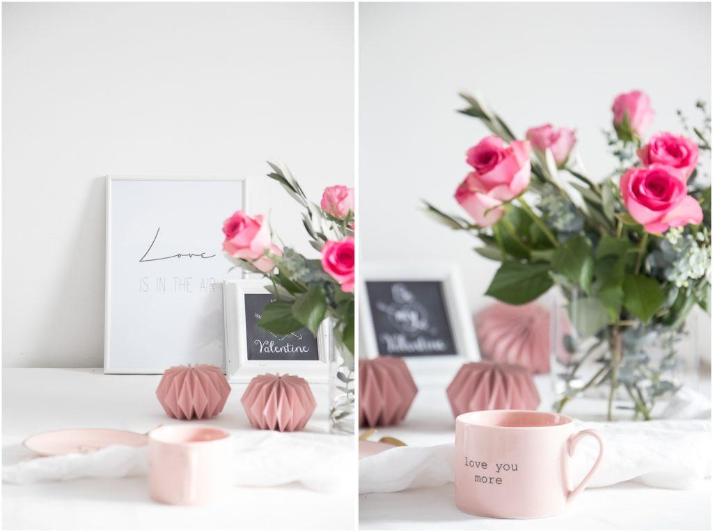 Rosa Geschirr, Plissees und Rosen